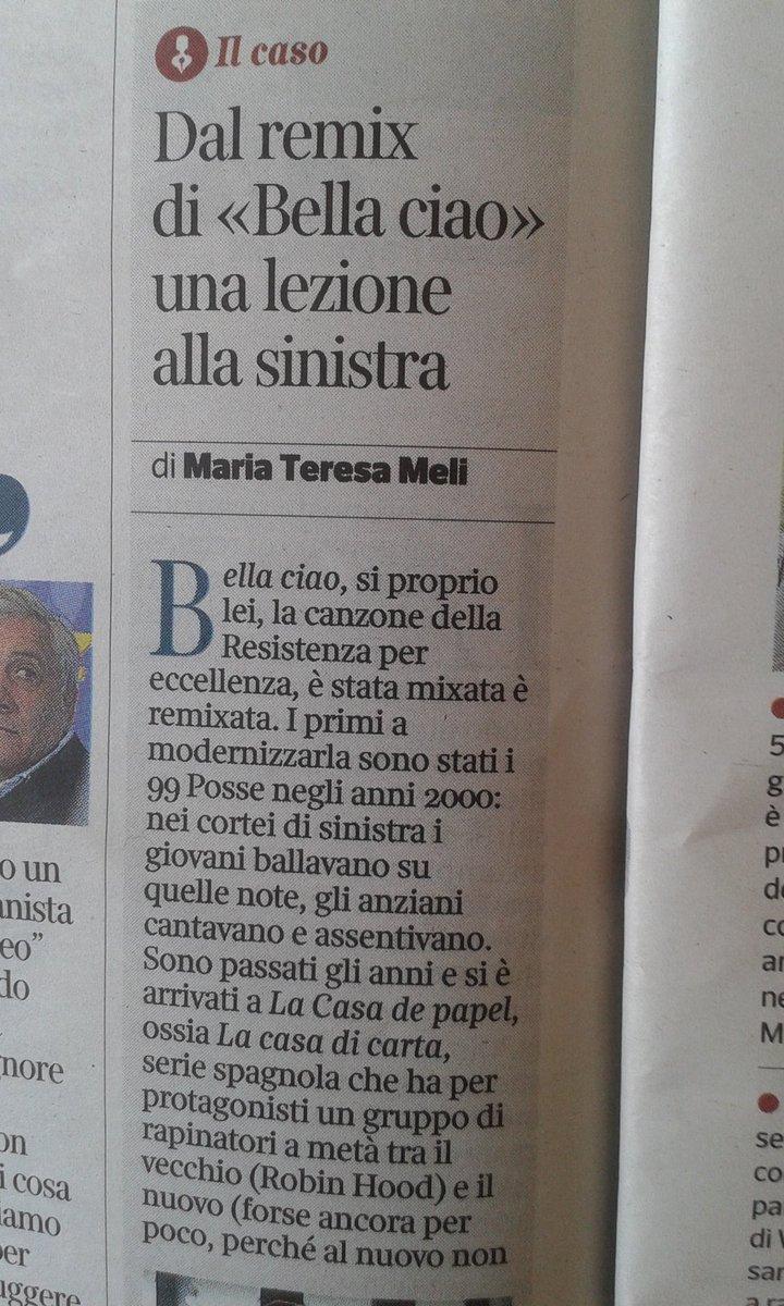 Maria Teresa Meli è così di sinistra e ha fatto talmente tante manifestazioni da confondere la versione di #BellaCiao dei Modena City Ramblers con i 99 Posse (che la cantano in questa versione)Troppe vacanze \