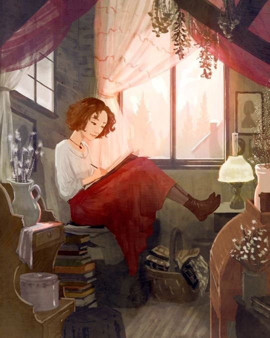An Illustration by Erin McGuire  from 'Little Women'  She has also illustrated and designed  book covers  for the 'Nancy Drew' mysteries.   (I remember they sold really well) .  She lives in Dallas ( the artist not Nancy Drew!) <br>http://pic.twitter.com/Jpb9gEgy8a