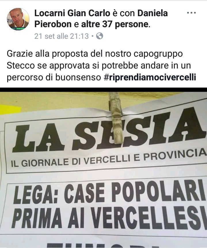 Anche a #Vercelli il primo pensiero è per gli italiani  Complimenti a tutti @GLocarni#governareconbuonsenso #Lega  - Ukustom