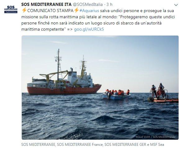 """Altro caso #Diciotti11 migranti(pakistani e ivoriani quindi fuggiti dalla guerra fantasma)sono stati """"sequestrati"""" dalla @Aquarius di @SOSMedItalia e @MSF_Sea perché si sono rifiutate di consegnarli alla Guardia Costiera Libica.Chiediamo l\"""