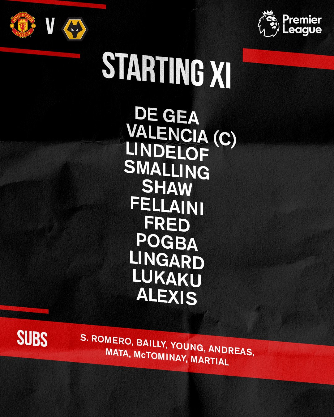 Here's how the Reds line up for #MUNWOL...  Let's do this, #MUFC! �� https://t.co/p6smlbGM8z