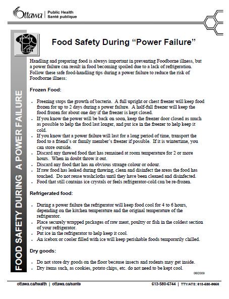 Ottawa Public Health On Twitter A Power Failure Can Result In Food