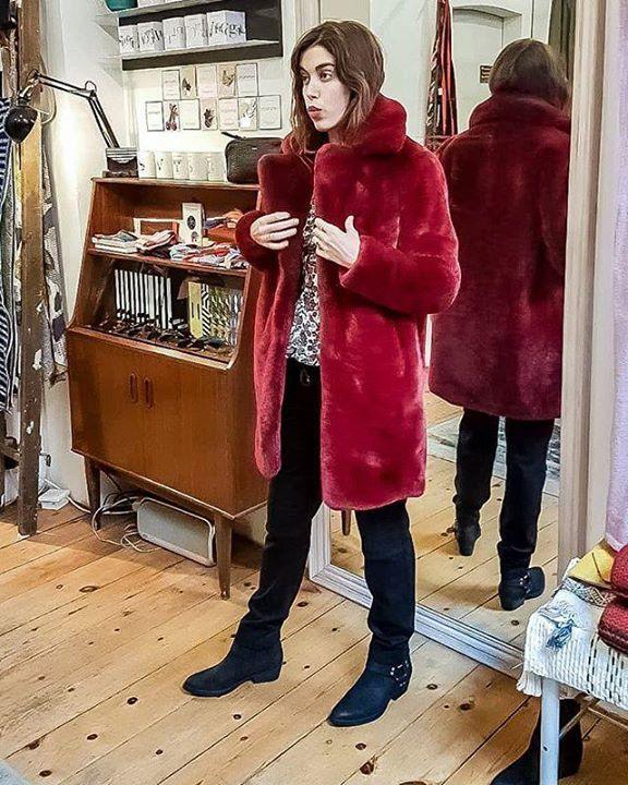 b3395a4c99 Gorgeous @vanessabrunoparis silk blouse, trendy @cacharel sweats,  @sneakysteveshoes cowboy boots and faux fur @mktstudio coat. . . model ...