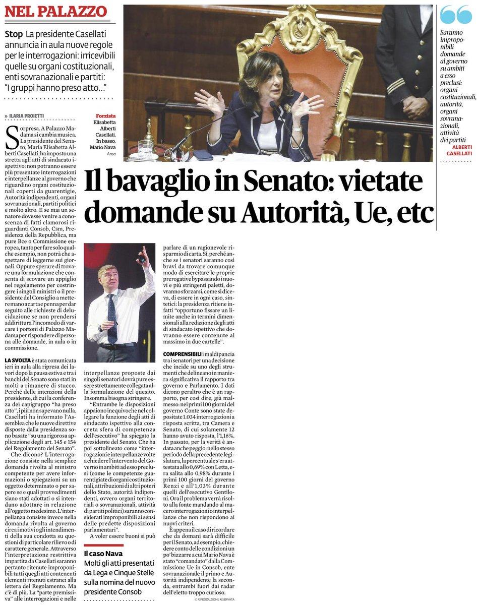 «IL #BAVAGLIO IN #SENATO: VIETATE DOMANDE SU AUTORITÀ, UE, ETC» di Ilaria Proietti (dal FQ del 12/9) #Casellati  - Ukustom