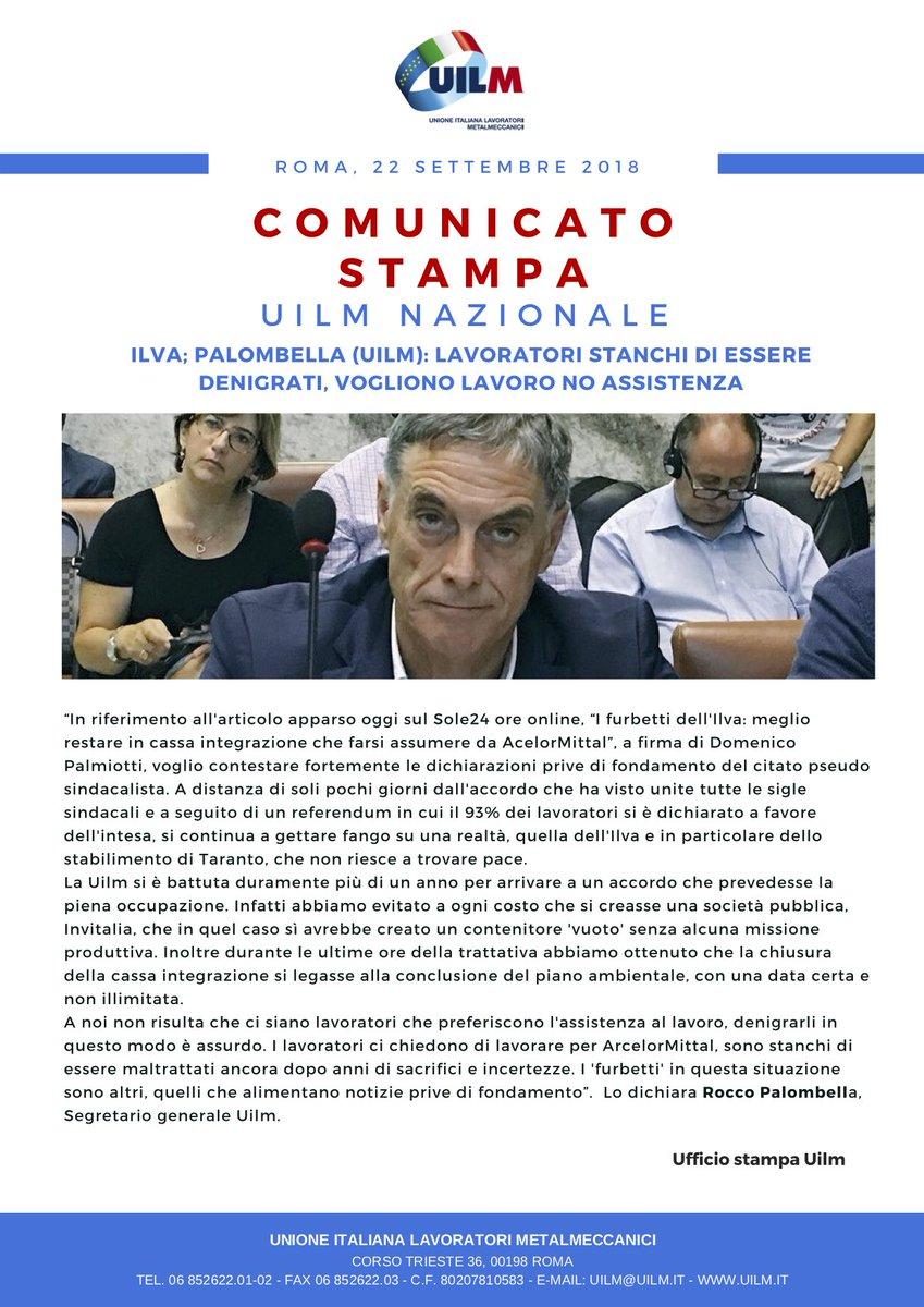 """#Uilm #Ilva @RoccoPalombella: """"Lavoratori stanchi di essere denigrati, vogliono lavoro no assistenza""""  - Ukustom"""