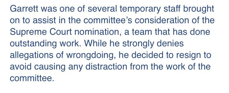 Breaking —> , a@GarrettVentry comms adviser to Senate Judiciary Committee on SCOTUS nomination, abruptly resigned after NBC began looking into an allegation of sexual harassment. Statement from committee spokesman