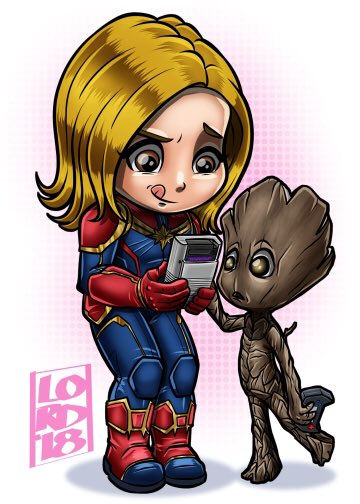 """""""2 Player"""" @brielarson @captainmarvel @Guardians @Avengers My """"Low Tech"""" illo from earlier this week inspired me to do this new one #CaptainMarvel #BrieLarson #groot #GuardiansOfTheGalaxy #lordmesaart #CLIPSTUDIOPAINT <br>http://pic.twitter.com/QPrTWPF1Fh"""