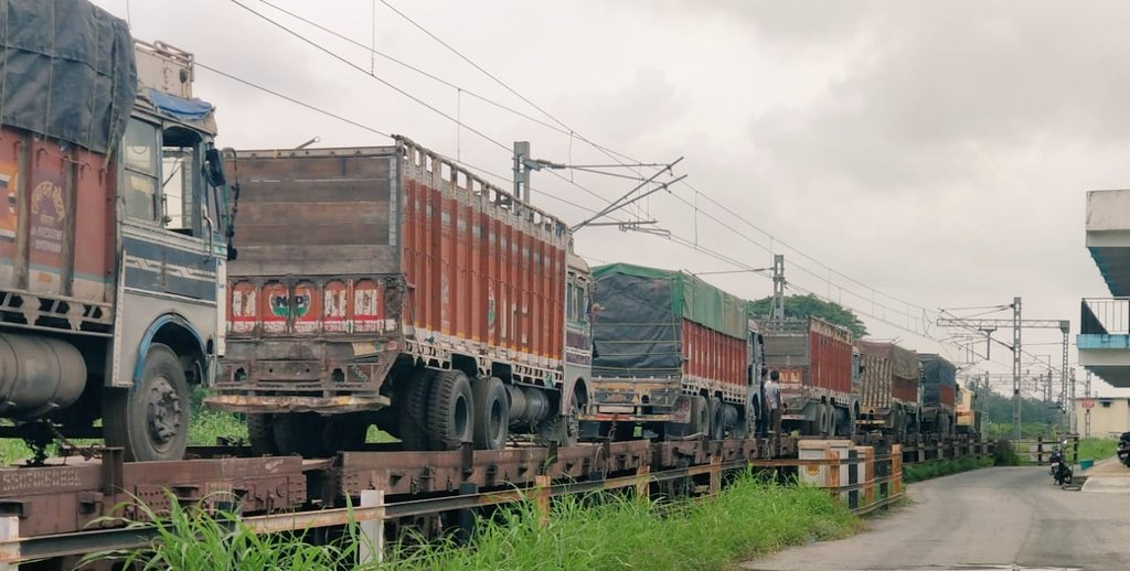 Railways transport trucks loaded with goods from Gujarat to South India in new Ro-Ro service