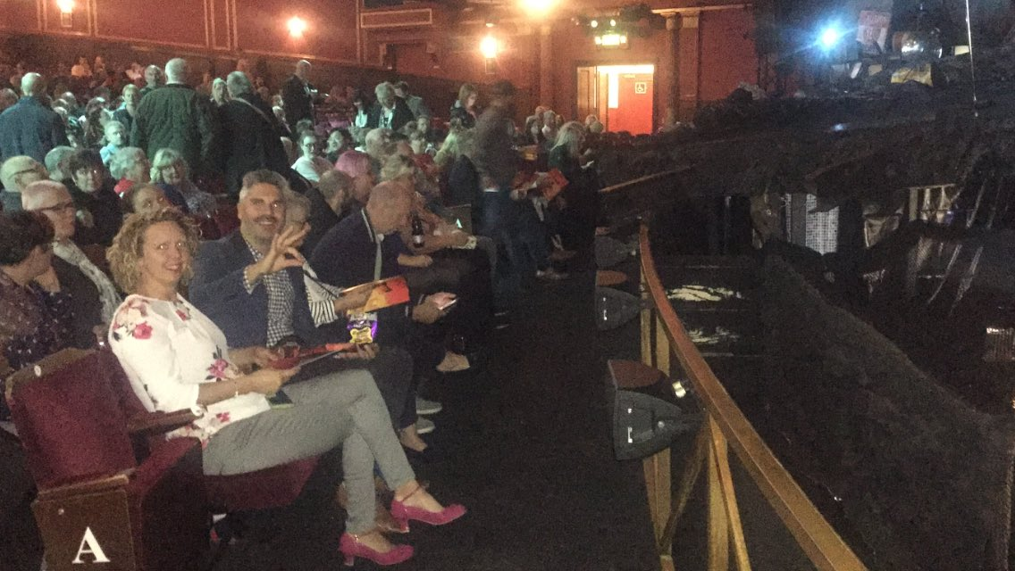 """Front row seats """"again"""" ... clients are loving @BatTheMusical West End Musical. Getting ready for the 2nd half performance ! @nedbaresi06"""