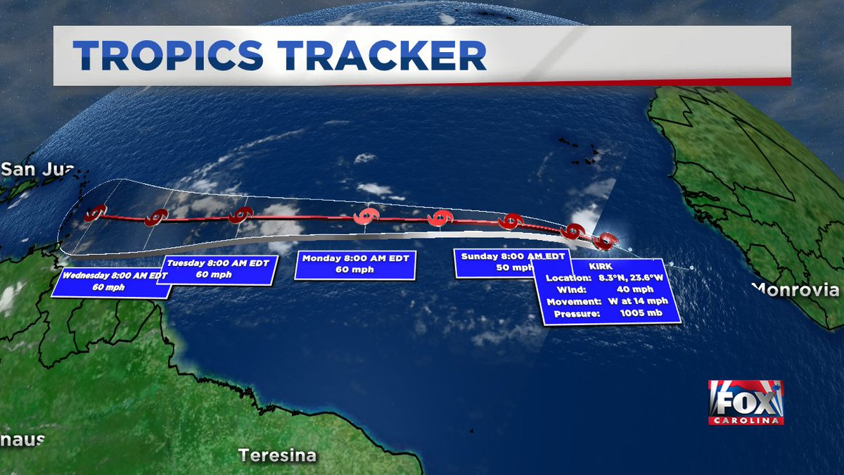 TROPICAL STORM KIRK FORMS just off the west coast of Africa moving west and not a threat to the U.S.  for now