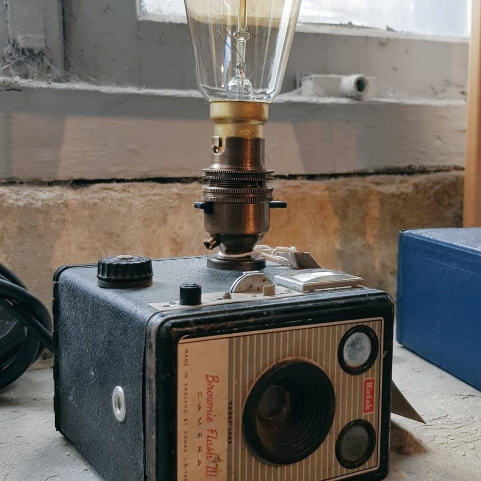 Proud to have these on show at @GallerySlawit   They have some absolutely stunning artwork over there from local artists, and at completely reasonable prices!  #thegalleryslaithwaite #photography #kodak #brownie #cameralamp #camera #desklamp #recycle #upcycle #steampunk #sbs