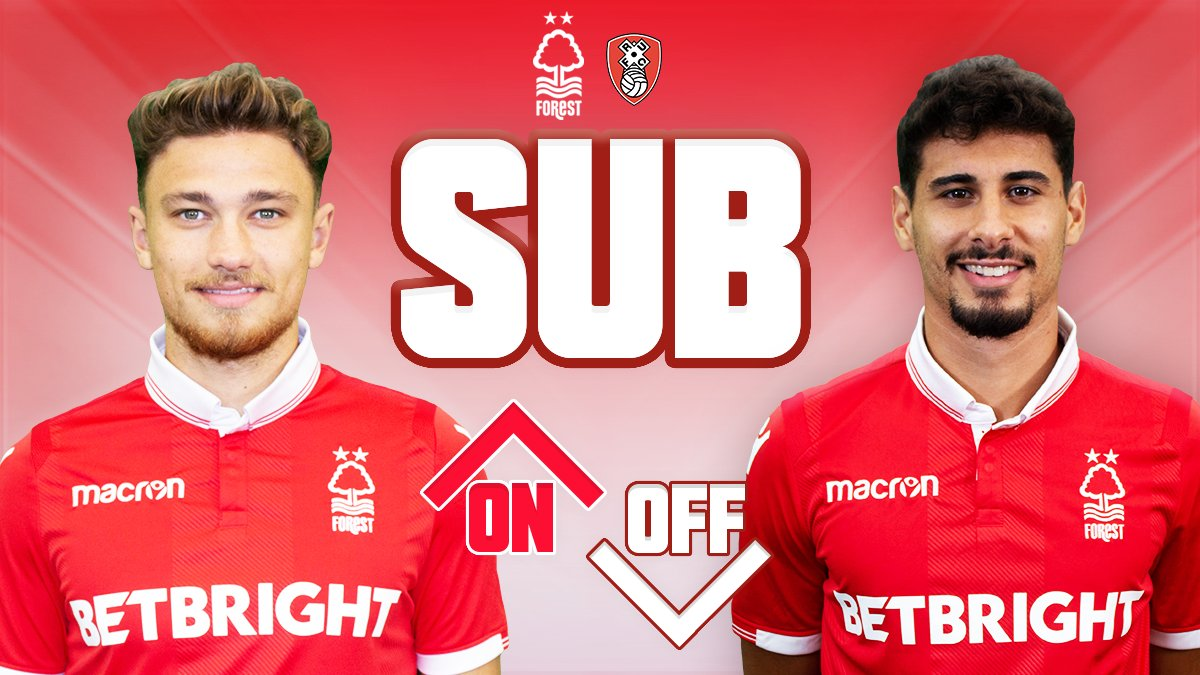 72' #NFFC 0-0 Rotherham: Second change of the game for The Reds as Matty Cash replaces Gil Dias.