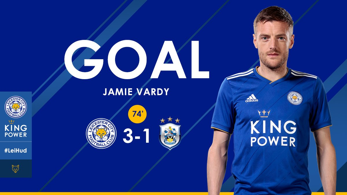 JAMIE VARDY SCORES! 😀 A superb dink over the goalkeeper has #lcfc 3-1 up! 🔥 #LeiHud