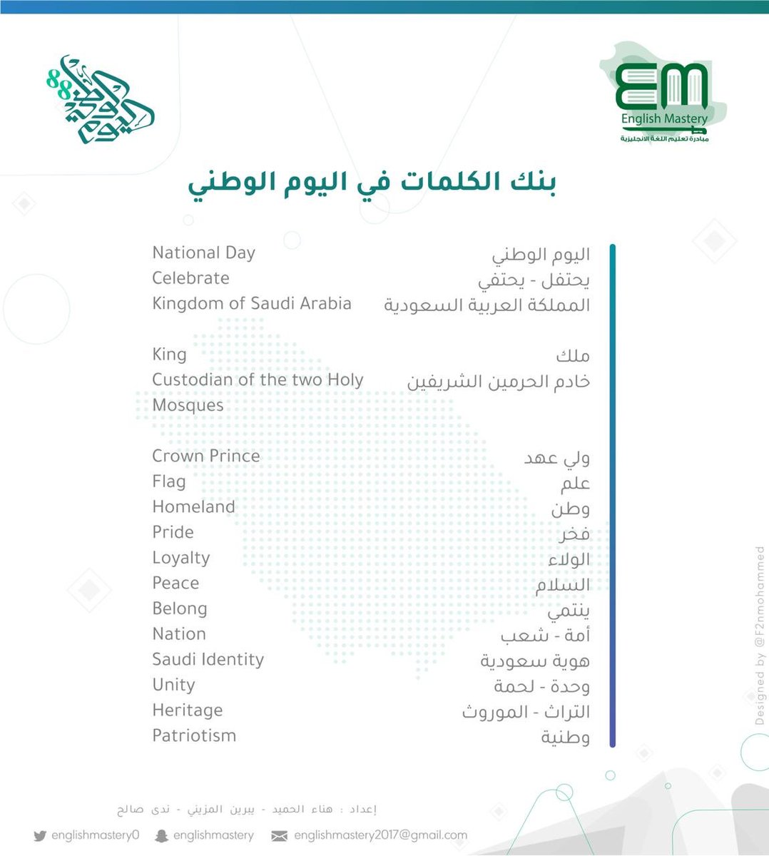 #SaudiNationalday88 #اليوم_الوطني88   #السعودية   #للمجد_والعلياء   🔸بنك الكلمات في اليوم الوطني .. #مدونة_تعلم_الإنجليزية