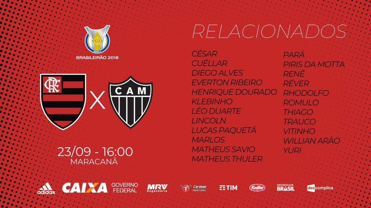 Lista de relacionados para o jogo contra o Atlético-MG #FLAxCAM #CRF