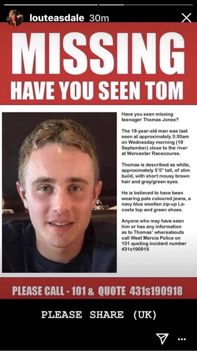 A young guy has gone missing in Worcester on his 1st day of Freshers. He's a friend of my girls and can't imagine how his family is feeling. Please RT. Thank you.