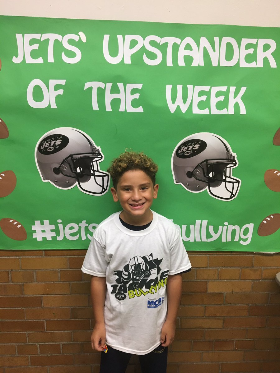 Our Week 3 #Jets Upstander of the Week is Xavion from Calvin Coolidge Elementary 👏   #JetsTackleBullyingTac@STOMPOutBullyngkle@NYMCU_NewsBullying x  x