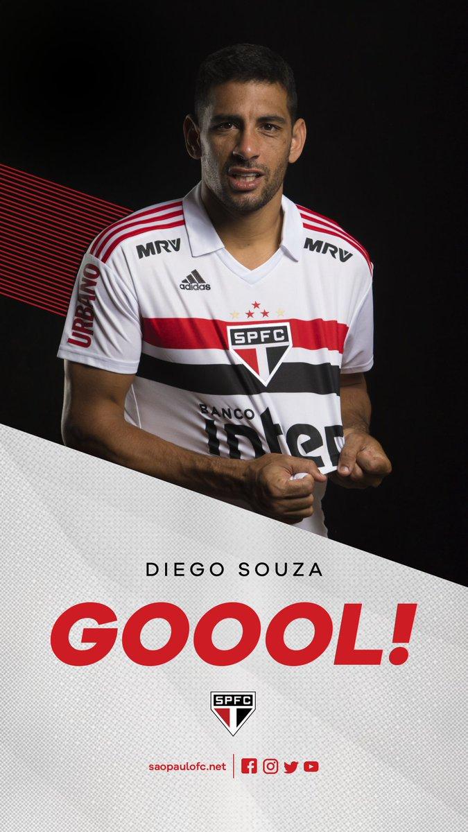 1T | ⏱ 45 min: Nene fez o cruzamento, Diego Souza ganhou dos zagueiros e cabeceou no canto esquerdo do goleir #SPFCxAFCo  (1-0 #VamosSãoPaulo)   🇾🇪