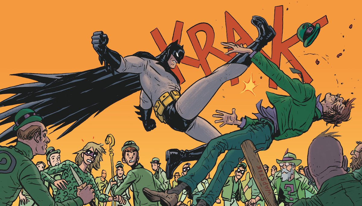 The Caped Crusader leaps into action against the Riddler in Batman Universe Part 1, the ALL-NEW story from writer @BRIANMBENDIS and artist @NickDerington featured in BATMAN GIANT #3, available at @Walmart this Sunday, 9/23: bit.ly/2xDcbtt