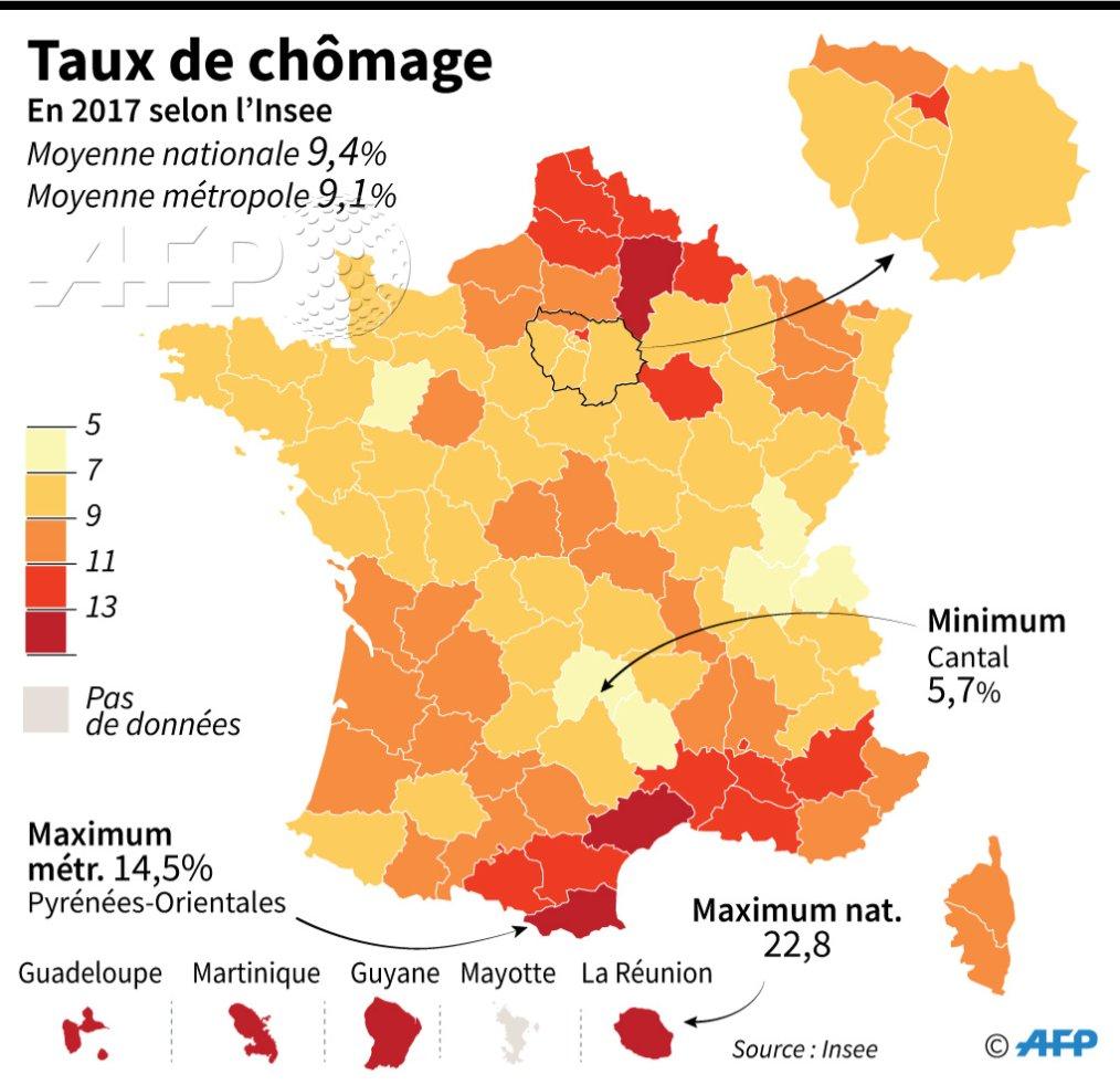 Le taux de #chômage en 2017 en France, département par département Par l' @AFPgraphics #AFP