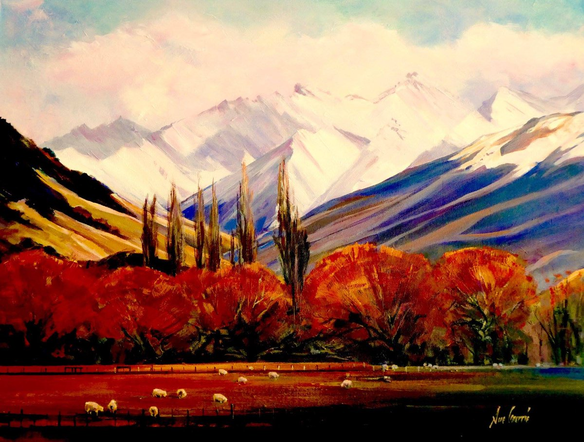 Winter in Southland near Athol, New Zealand ~ Acrylic on canvas by Sue Currie.   Sue Currie shares her art tips and techniques in this inspiring fine #art episode with Colour In Your Life!   https://www. youtube.com/watch?v=zVBwyF qSli8 &nbsp; …  #Artisttowatch #artoftheday #artworks <br>http://pic.twitter.com/bfNgHDLsmQ