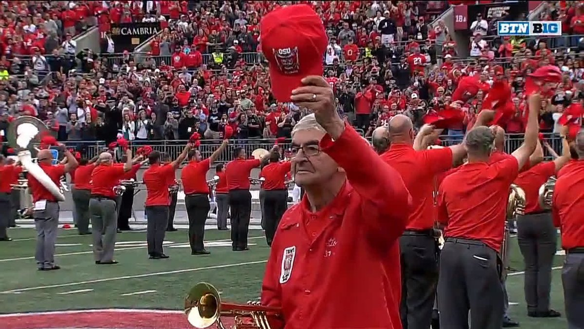 One of the coolest things youll see all year. 👏 100-year-old WWII veteran Anthony Violi dotted the Script Ohio i for @TBDBITL on Saturday. When he joined the band in the 1930s, the tradition was only a year old.