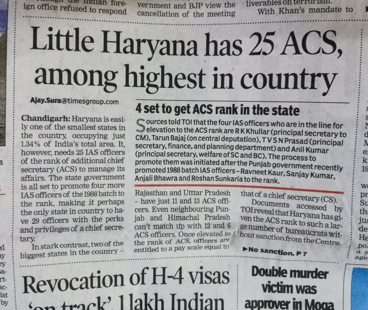 The State of Haryana now has 25 Additional Chief Secretaries. All enjoying the same pay & perks of the Chief Secretary, and all in the Apex pay grade of Secretary to Govt of India. Practical or financial prudence, anyone? :)