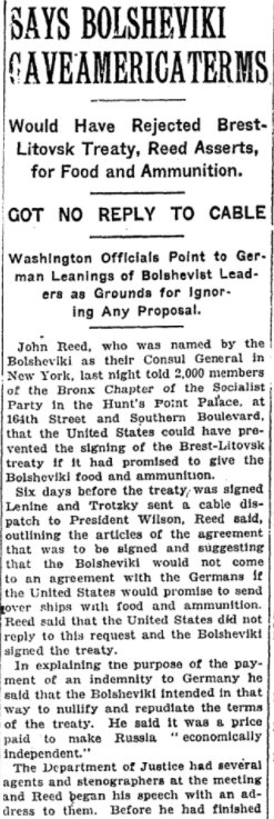 Sep 14, 1918 - New York Times: Left-wing journalist John Reed claims Soviets offered to renounce Brest-Litovsk Treaty with Germany in exchange for US aid #100yearsago