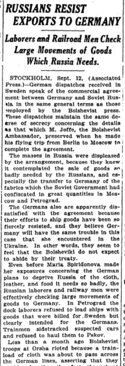 Sep 14, 1918 - New York Times: Russians resist exporting war materials to Germany as promised under terms of Brest-Litovsk Treaty #100yearsago