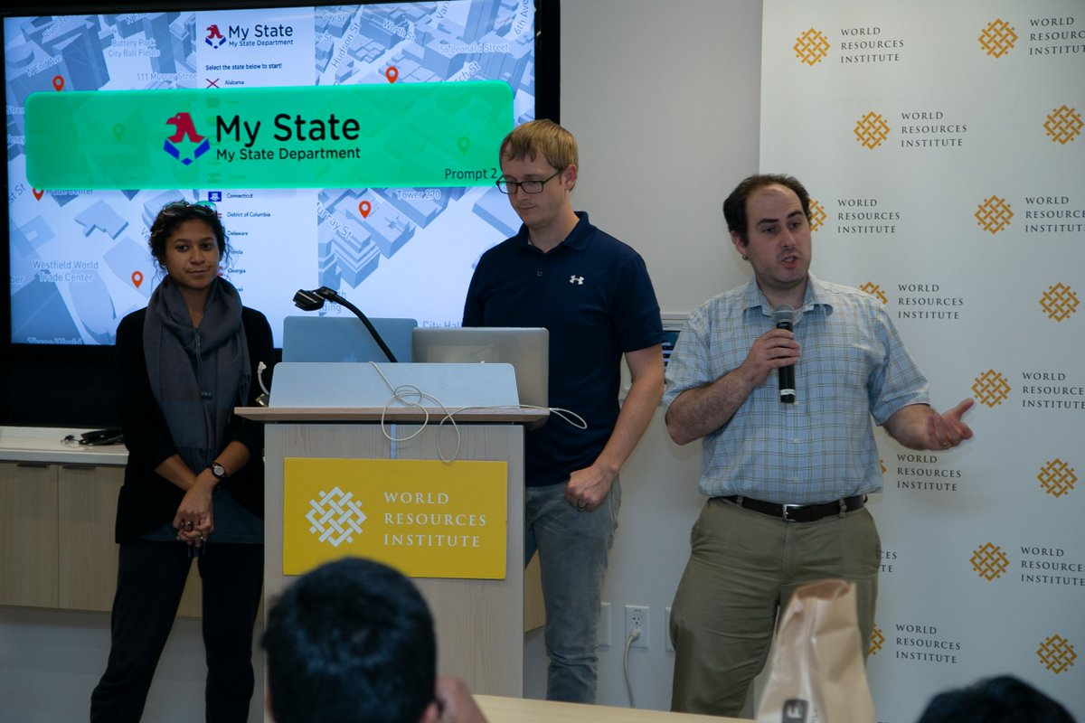 "Congrats to the winners of #ImpactHack who created ""My State, My Department,"" an interactive game that showed how international relationships help state and local economies across the United States! @WorldResources"