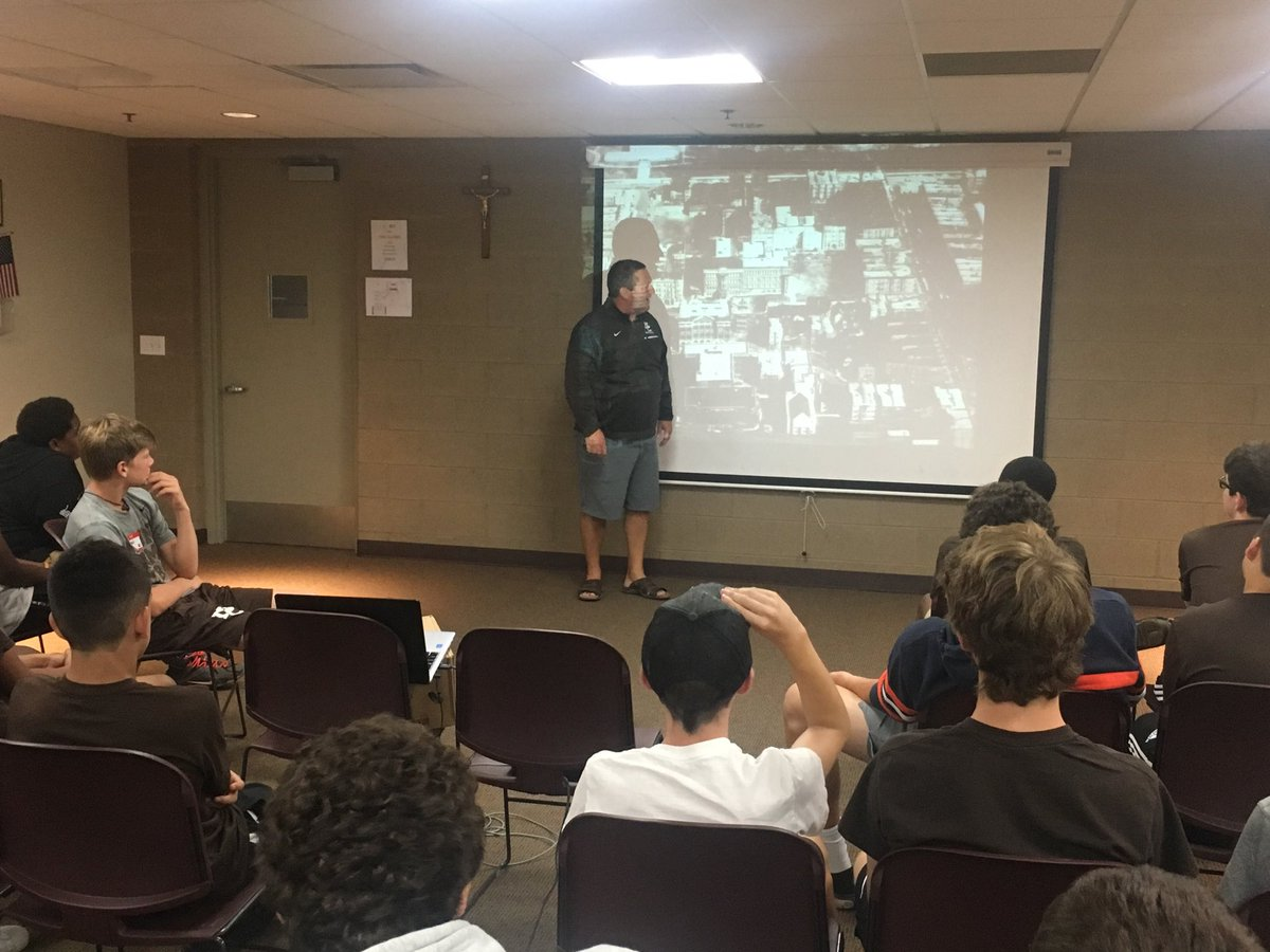 Coach Nolan shares the century plus history of Mount Carmel with the Class of 2022