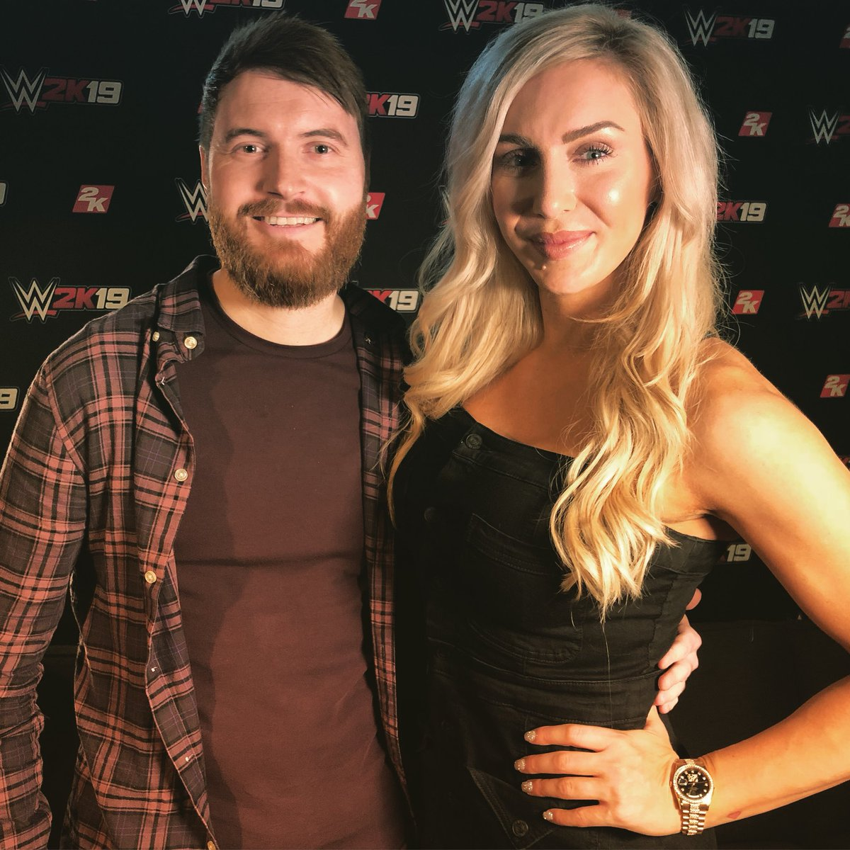 Great to meet &amp; interview  @MsCharlotteWWE at the #WWE2K19 event, we even defined the Ric Flair Drip!   Video coming soon to the channel! Thanks again Queen!  <br>http://pic.twitter.com/qxVe9HakaD