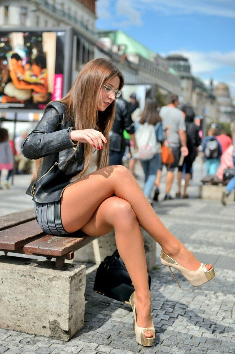 Upskirt outdoors with clothes on