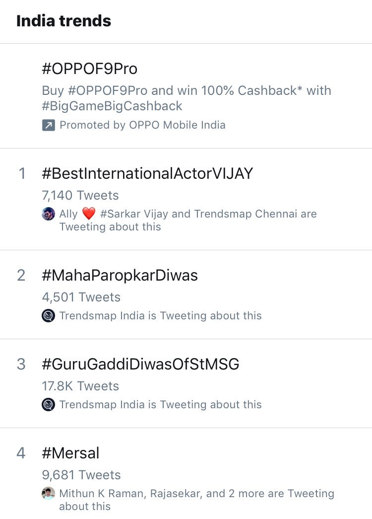Both #BestInternationalActorVIJAY & #Mersal Trending In India Trends 🔥