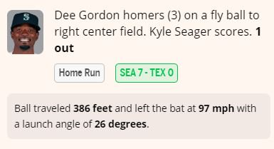 Dee Gordons 3rd home run of the season extends the #Mariners lead to 7-0. Details: