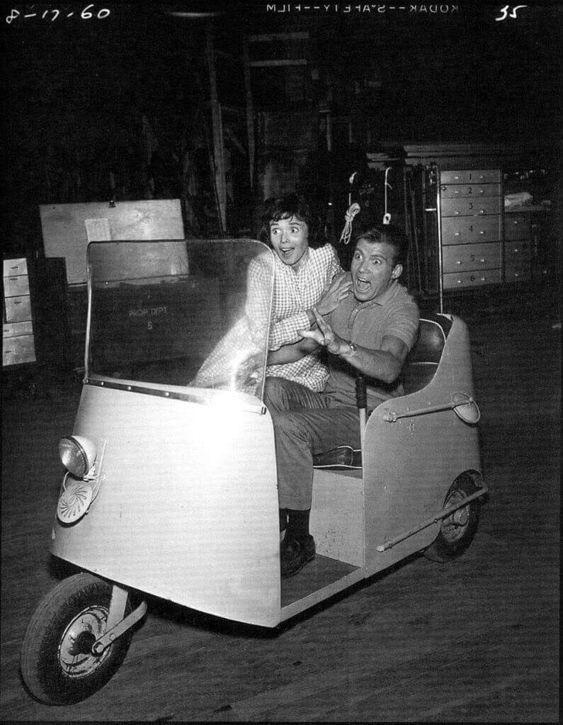 """Patricia Breslin and @WilliamShatner on the set of Twilight Zone's """"Nick of Time""""."""