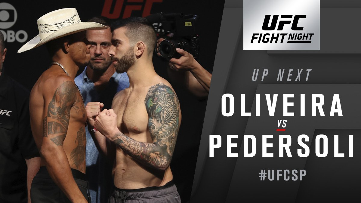 Co-main up!  'Cowboy' Oliveira takes on Carlo Pedersoli now on @FS1! #UFCSP