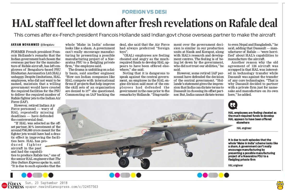 Fresh revelations on the #RafaleScam demoralise the staff at HAL. The Rafale deal shows that not only is PM Modi corrupt, but the much touted 'Make in India' is yet another jumla.