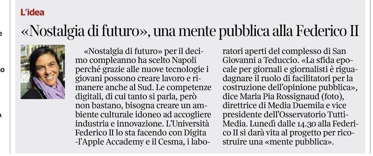 """#PubblicMind. Domani alla #FedericoII di #Napoli per i 10 anni del premio #NostalgiadiFuturo. """"La sfida epocale per #giornali e #giornalisti - dice @mediaduemila - è riguadagnare il ruolo di facilitatori per la costruzione dell'#opinionepubblica ai tempi dell'#algoritmo""""  - Ukustom"""