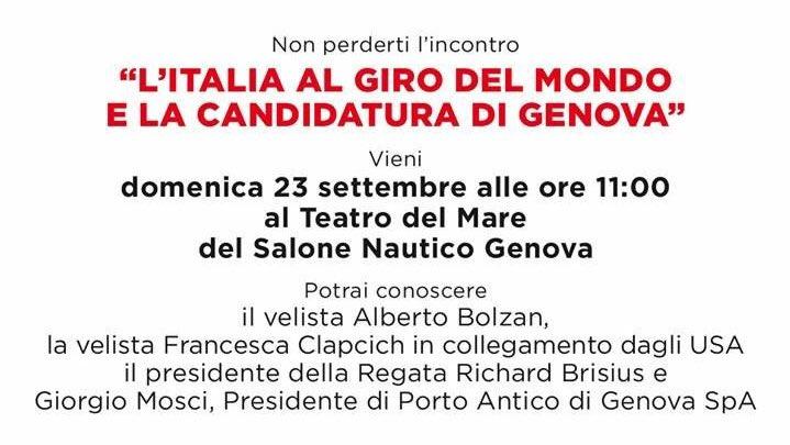 Oggi alle ore 11:00, presso il Teatro del Mare del @SaloneNautico, potrete scoprire tutto sulla candidatura di Genova al prossimo giro del mondo a vela in equipaggio  #SaloneNautico #sn58 #GenovaMoreThanThis #LamiaLiguria  - Ukustom