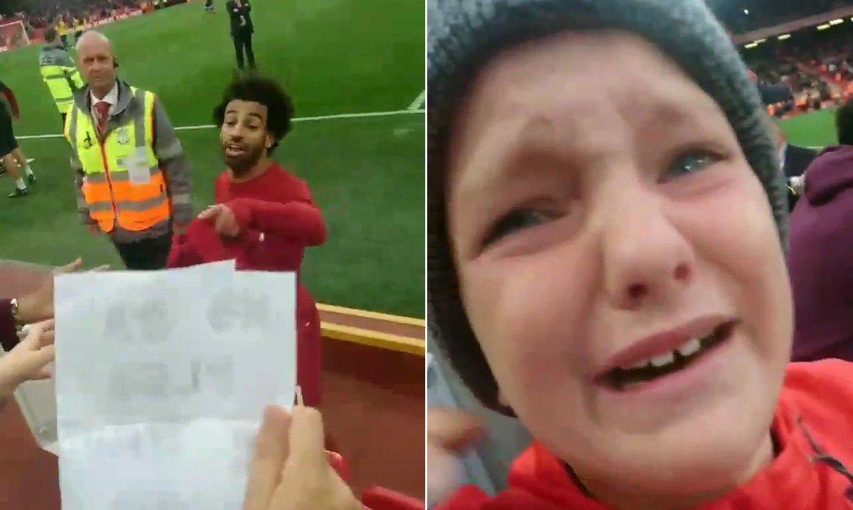 نتيجة بحث الصور عن Mohamed Salah + Liverpool + Child