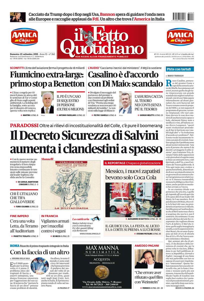 PRIMA PAGINAIl Decreto Sicurezza di #Salvini aumenta i clandestini a spasso[Continua su http://ilfattoquotidiano.it/premium] #FattoQuotidiano #23settembre #edicola  - Ukustom