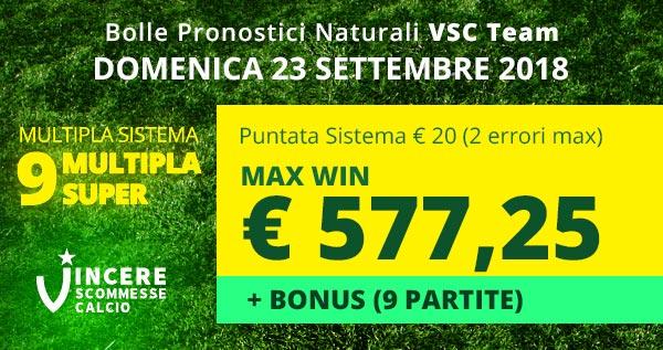 Scommetti con i #pronostici naturali #VSC, oggi #bolla calcio #SuperMultipla oggi #sistema da € 20 per vincere fino a € 577,25 + bonus  - Ukustom