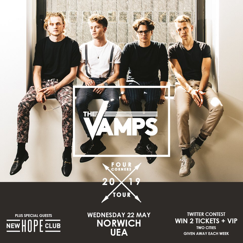 🚨 TWO NEW CITIES FOR THIS WEEKS GIVEAWAY #VampsTourUK2019 🚨 Tell us some interesting facts and why you want to come to the show (with a friend - VIP) in #Norwich &  😀 W#Dublininners to be announced next Saturday! Looking for people that use the hashtag all week!! 💃💃💃💃