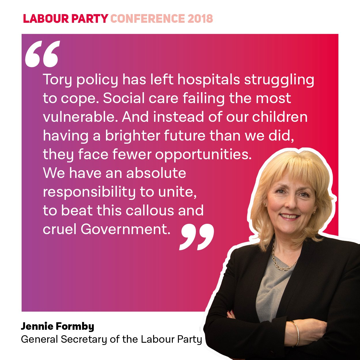 �� We have an absolute responsibility to unite – to beat this callous and cruel Government. @JennieGenSec #Lab18 https://t.co/HPQ7zBRqeb