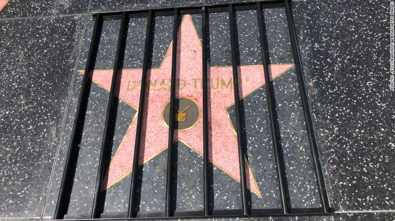 President Trump's star on the Hollywood Walk of Fame was defaced yet again this week, this time covered by wooden bars affixed with industrial, double-sided tape https://t.co/FHd3Od61t9