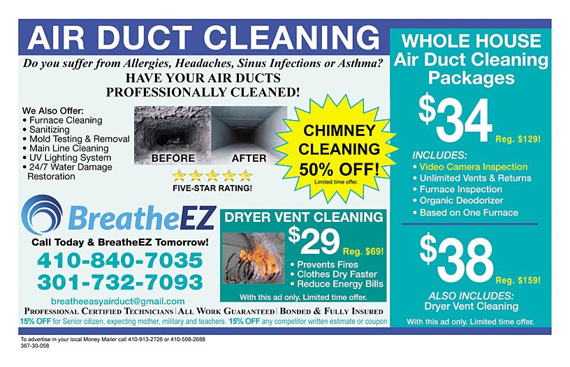 Money Mailer Md On Twitter Great Savings At Breathe Easy Coupons Savings Discounts Advertising Marketing Directmail Moneymailer Entrepreneurs Smallbusinesses Businessowners Mailers Airductcleaning Airducts Dryervents Chimneycleaning