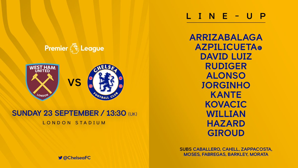 Here is your Chelsea team today! 👊 #WHUCHE
