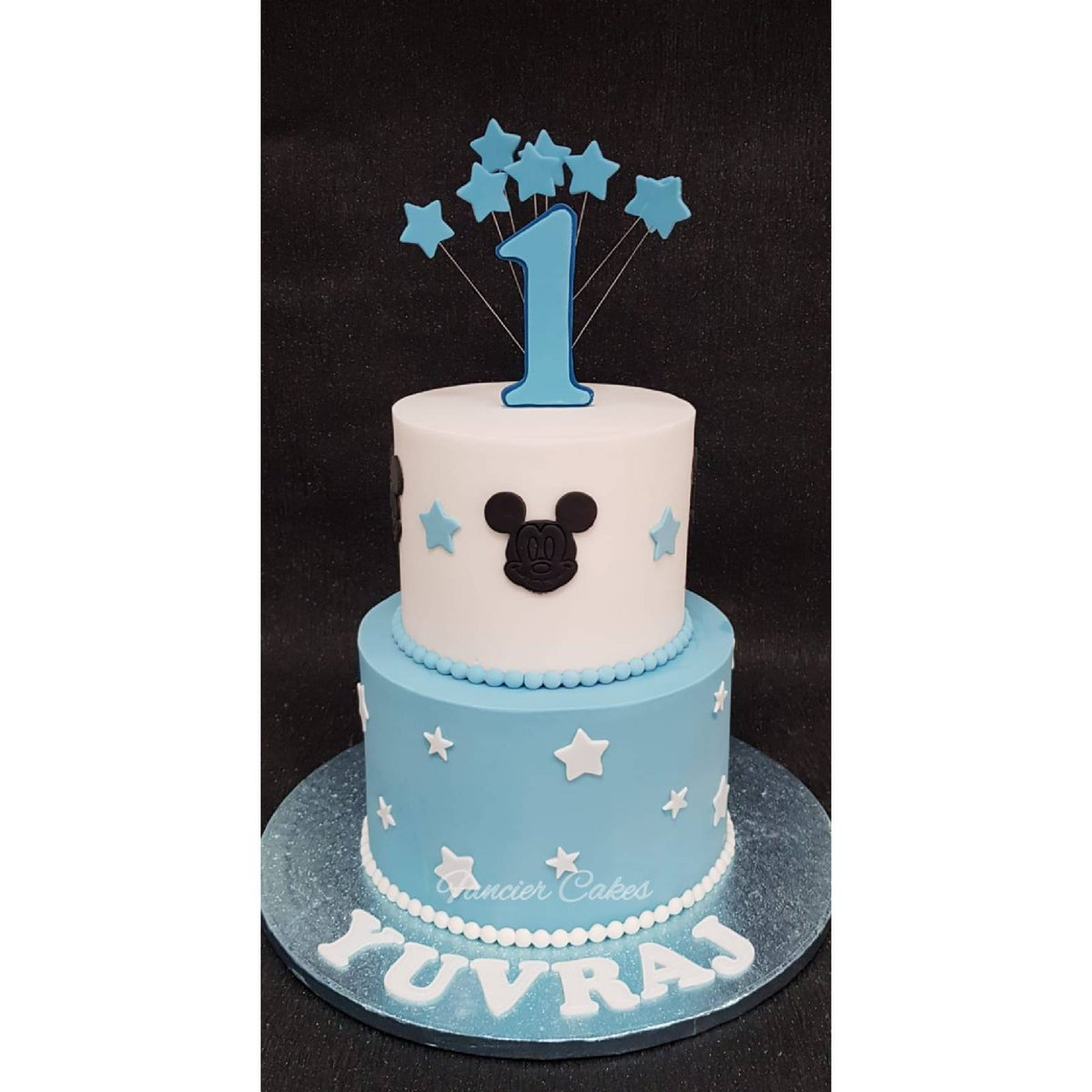 Magnificent Fancier Cakes On Twitter Eggless Mickey Mouse Cake For A First Funny Birthday Cards Online Fluifree Goldxyz