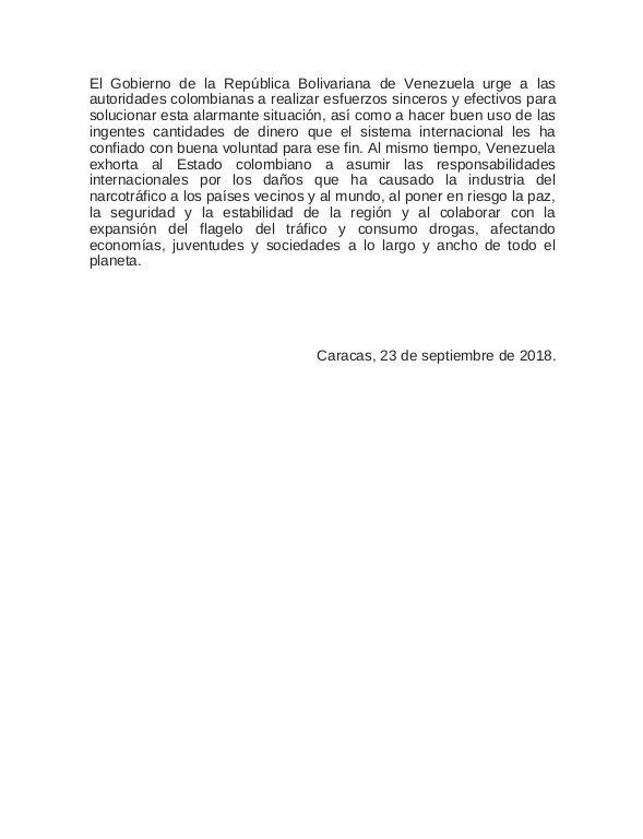 Comunicado Cancillería Venezuela